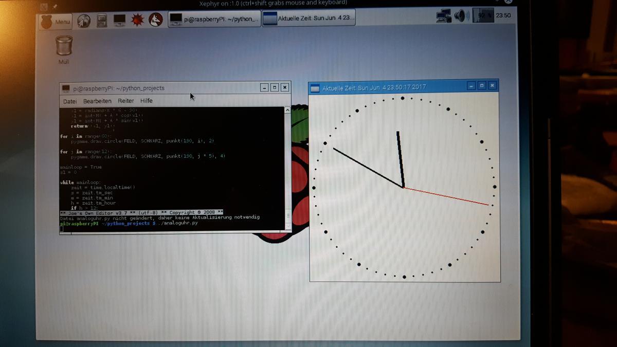 Raspi1 mit analoger Uhr